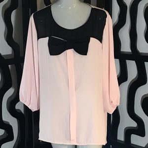 Heartsoul Plus Size Large Bow 3/4 Sleeve Blouse